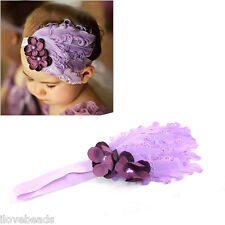 Purple Cute Infant Baby Toddler Feather Flower Rhinestone Hairband Headband