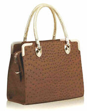 Brand New Designer Ladies Women Fashion Brown Ostrich Print Handbag Office Bag