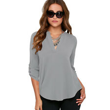 Summer Womens Loose Casual Long Sleeve Chiffon Shirt Blouse Ladies Tee Tops 6-22