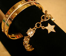 Stunning! JUICY COUTURE BRACELET GOLD PAVE STAR CHARM RHINESTONE CRYSTAL DOT NEW