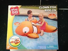 """NIB Play Day 48"""" Inflatable Ride On Clown fish Pool Toy Age 3+ 50x27"""""""