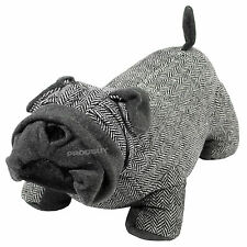 Novelty Cute Fabric Grey Tweed Bulldog Door Stop Weighted Stopper Animal Dog