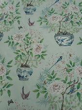 Zoffany Curtain Fabric 'Romey's Garden' 3.75 METRES (375cm) Sea Green 100% Linen