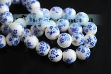 10/20pcs 10/12mm Flowers Pattern Ceramic Porcelain Loose Spacer Colorized Beads