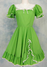 MALCO MODES VtG 60s LiME GREEN LACE TRiM FULL SKiRT ROCKABiLLY SWiNG DRESS 14