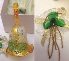 Campanella in vetro - in fine vetro con fiore in bassorilievo 12cm - Nuova