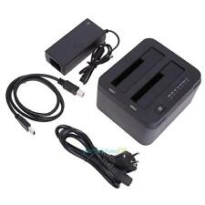 USB 3.0 to Dual SATA Adapter Clone Docking Station for 2.5 or 3.5inch HDD SSD EU