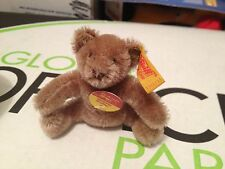 STEIFF Vintage 1968-1990 MINI MOHAIR BEAR EAR BROWN CARAMEL BUTTON & Tag