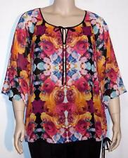 NWT Nicole Miller Pullover 3/4 Kimono Sleeve Sheer Top XL Mirrored Mayhem