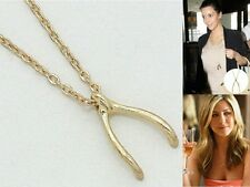 New Women Fashion Celebrity Inspired Metal Gold Wishbone Pendant Chain Necklace