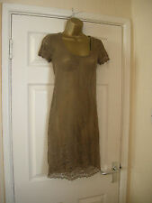 12 REDOUTE SHEER LACE DRESS COFFEE + COTTON SLIP SUMMER BEACH COVER UP DRESS