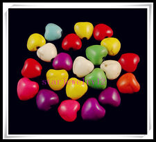 30Pcs Mixed Turquoise Heart Shape Loose Spacer Beads Craft Design 12mm