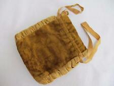 ANTIQUE VICTORIAN MUSTARD YELLOW CUT VELVET  PURSE RETICULE c1880
