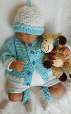 Knitting Pattern DK 63 TO KNIT Baby or Reborn Dolls Cardigan Shorts Hat Booties