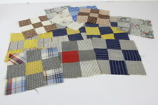 "9-Patch Hand Sewn Quilt Blocks Vtg 6- 7"" x 7"" &  8- 8"" x 8"" Quilting Squares"