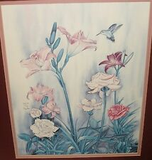 CARMEL FORET HUMMINGBIRD FLORAL LIMITED EDITION COLOR LITHOGRAPH