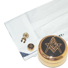 Gold Plated Masonic G Cuff BUTTON COVERS Mason Lodge Cufflinks Present Gift Box
