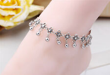 Luxury Lady's Anklet Silver Bead Charm Ankle Chain Bracelet Foot Sandal Jewelry