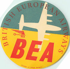BEA ~BRITISH EUROPEAN Airways~ Colorful Old Airline Luggage Label, 1955