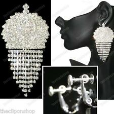 "BIG SPARKLY CLIPS clip on 3""long chandelier earrings CRYSTAL silver rhinestone"