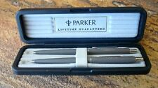 Vintage NOS Parker Rollerball Pen Pencil Set in Factory Case, Matte Gray REDUCED