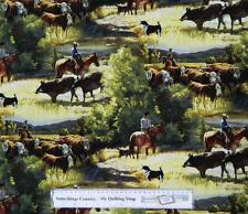 Patchwork Quilting Fabric HORSES MUSTERING COWS Material Cotton FQ 50x55cm NEW