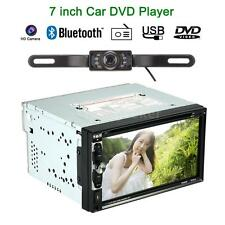 "7"" Double 2 Din Car Stereo CD DVD Player Bluetooth Radio TV Aux In Camera C6E9"
