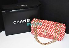 AUTHENTIC RARE CHANEL QUILTED TWEED FLAP BAG RED AND WHITE