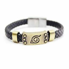 Anime Naruto Bracelet Leaf Mark Brown Wristband Cosplay Bangle For Anime Fan