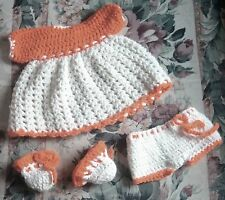 """VTG Crochet 12""""-15"""" Baby Doll Clothes 3 Pc Outfit Orange Dress Bloomers"""