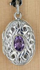Anhänger Silber  Amethyst  Medaillon Oval Foto Keltische Knoten Amulett