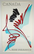 Vintage Abstract Modern 1960s Vintage Air France Poster Canada Georges Mathieu