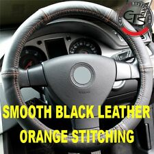 BMW 1 SERIES E81 E87 E82 E88 ORANGE STITCH STEERING WHEEL COVER BLACK LEATHER