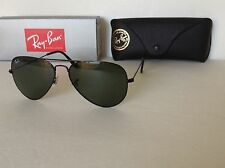 NEW RAY BAN RB3025 L2823 AVIATOR  BLACK /GREEN  G15  LENS 58mm Sunglasses