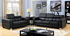 Contemporary Headrest 2 Pc Sofa Love-seat Chrome Feet Black Bonded Leather Couch
