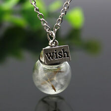 Real Dandelion Seed Lucky Glass Ball Wishing Bottle Pendant Necklace Long Chain