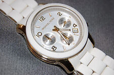 Michael Kors MK5145 Women's Chronograph White & Gold Steel Watch NEW BATTERY!