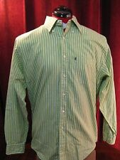 BROOKS BROTHERS 346 Men's Green and White Striped Shirt Size Medium Long Sleeves