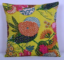 """16"""" YELLOW FLORAL INDIAN KANTHA CUSHION PILLOW COVER Ethnic Vintage Decor Art"""