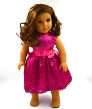 cute nice rose red clothes dress for 18inch American girl doll party b47