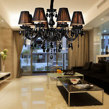 Luxury Modern Black Crystal Ceiling Fixture Lamps Chandelier Lighting Lights E12