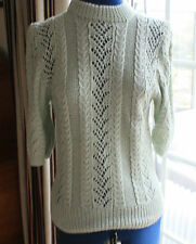 New Hand Knitted pale green short sleeve jumper size 12 - 14 chest 36 inch
