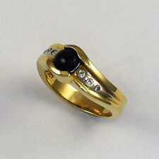 Black Star Sapphire Ring With Diamonds in 14kt Gold