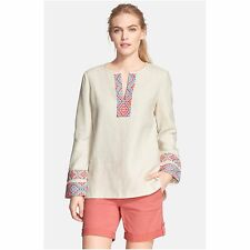 NWT Tory Burch McKenna Tunic Top Ivory Linen $350 – Size 10
