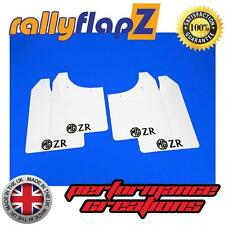Rally Mudflaps to fit MG ZR Rover Mud Flaps rallyflapZ White Logo Black 3mm PVC