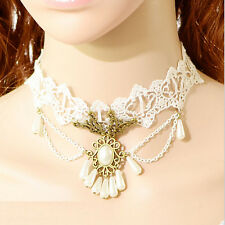 White Lace Necklace Gemstone Pendant Victorian Chocker Lolita Goth Punk Collar