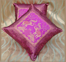 PAIR (TWO) OF SILK BROCADE PILLOW/CUSHION COVER HOT PINK COLOR FROM INDIA ! !