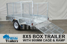 8 x 5 BOX TRAILER BRAND NEW GALVANISED WITH 900MM CAGE + RAMP - FULLY WELDED
