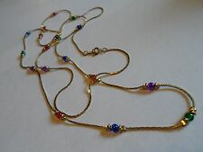 Gold Tone Mesh Chain Necklace W/Small Multi-Colored Glass Beads, Unmarked, 40""