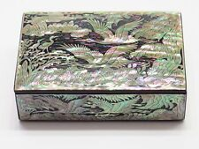 Mother of Pearl Vintage Korean Lacquer Business Card Jewelry Trinket Box